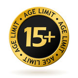Vector age limit gold medal. Vector gold medal with symbol of age limit Royalty Free Stock Photos
