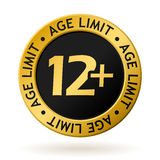 Vector age limit gold medal. Vector gold medal with symbol of age limit Stock Images