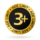 Vector age limit gold medal. Vector gold medal with symbol of age limit Stock Photos