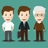 Vector of age progress .boy, businessman and senior man Stock Photography