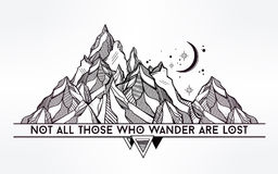 Vector ageometric mountain with typographic quote. Royalty Free Stock Photography