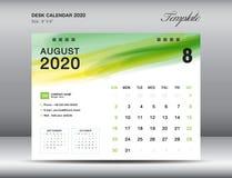 Vector 2020, AGOSTO DE 2020 mes de la plantilla del calendario de escritorio con el movimiento verde del cepillo de la acuarela,  ilustración del vector