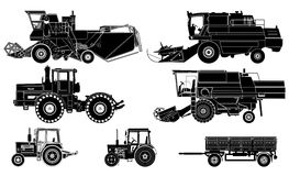 Vector agricultural vehicles set. Detailed  agricultural vehicles silhouettes set isolated on white background Stock Photo