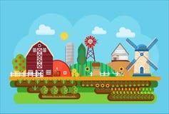 Vector agricultural village landscape flat concept illustration.. Little agriculture town Stock Photo
