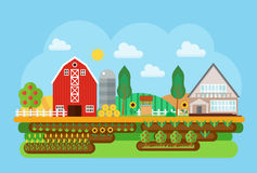Vector agricultural village landscape flat concept illustration. Village barn, warehouse buildings with sown field and. Fruits tree. Agricultural Cityscape Royalty Free Stock Photo