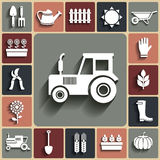 Vector agriculture and farm white icons set Stock Photography
