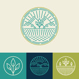 Vector agriculture and organic farm line logos. Set of design elements and badges for food industry royalty free illustration