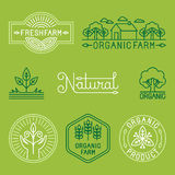 Vector agriculture and organic farm line logos. Set of design elements and badges for food industry Royalty Free Stock Image
