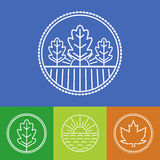 Vector agriculture and organic farm line logos. Stock Photo