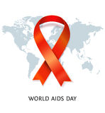 Vector AIDS ribbon on world map Royalty Free Stock Photography