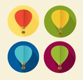 Vector air ballon icon set flat Stock Image