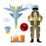 Vector Air Force pilot. Flat style colorful Cartoon illustration. Aviator, flight recorder, airplane, radar, bomb Isolated on a white background Stock Photography