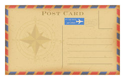 Vector air mail old postcard with compass . Grunge paper vintage post card. Stock Images