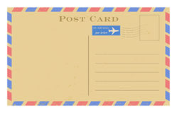 Vector air mail old postcard. Grunge paper vintage post card. On white Royalty Free Stock Image