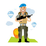 Vector Airborne troops. Flat style colorful Cartoon illustration. Russian soldier in blue with gun. Powerful Russian soldiers. VDV. Isolated on a white Royalty Free Stock Image