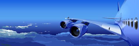 Vector Airbus A-380 in the Sky. Available AI-10, SVG vector format separated by groups and layers for easy edit Royalty Free Stock Images