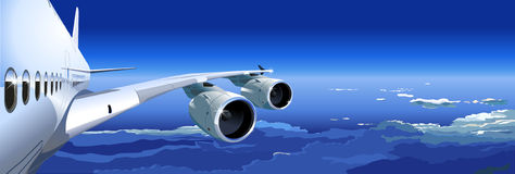 Vector Airbus A-380 in the Sky. Available AI-10 vector format separated by groups and layers for easy edit Stock Photos