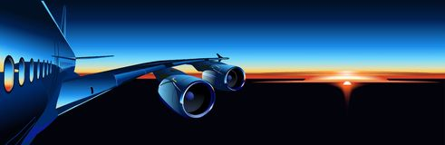Vector airbus at sunrise. Vector illustration A-380 wing at sunrise. Available AI-10 vector format separated by groups and layers for easy edit Royalty Free Stock Photos