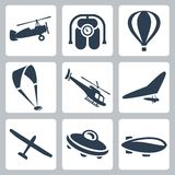 Vector aircrafts icons set. Vector   aircrafts icons set: autogyro, jet pack, air baloon, paraglider, helicopter, hang-glider, glider, flying saucer, airship Stock Image