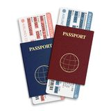 Vector airline passenger and baggage ( boarding pass ) tickets with barcode and international passport. Royalty Free Stock Photo