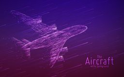 Vector airliner constructed with glowing lines. Thin line wireframe concept. Aircraft flying in sky with motion trails. Travel, tourism, transport concept stock illustration