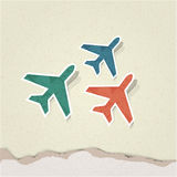 Vector airplane. Retro paper background vector illustration