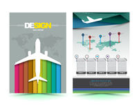 Vector airplane brochure template design. Royalty Free Stock Images