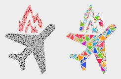 Vector Airplane Crash Mosaic Icon of Triangle Elements. Airplane crash collage icon of triangle elements which have various sizes and shapes and colors vector illustration