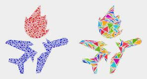 Vector Airplane Crash Mosaic Icon of Triangle Items. Airplane crash collage icon of triangle elements which have different sizes and shapes and colors. Geometric vector illustration