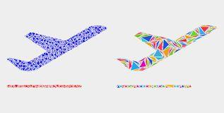 Vector Airplane Departure Mosaic Icon of Triangle Items. Airplane departure mosaic icon of triangle elements which have various sizes and shapes and colors royalty free illustration