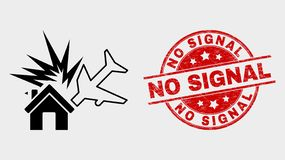 Vector Airplane Disaster Icon and Scratched No Signal Seal. Vector airplane disaster pictogram and No Signal seal. Red rounded textured seal with No Signal text stock illustration