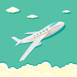 Vector airplane icon. cartoon plane in blue sky Stock Photo