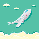 Vector airplane icon. cartoon plane in blue sky Royalty Free Stock Images