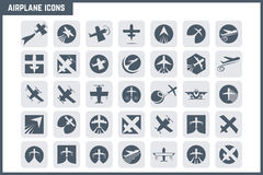 Vector Airplane Icon Set. Aircraft, modern design depicting travel and transportation issues Stock Images