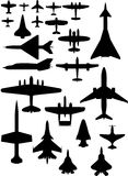 Vector airplane icons. Passenger plane, fighter plane, screw Royalty Free Stock Photography