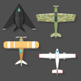 Vector airplane illustration top view and aircraft transportation travel way design journey object. Royalty Free Stock Image