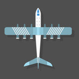 Vector airplane illustration top view and aircraft transportation travel way design journey object. Stock Photos