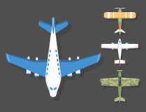 Vector airplane illustration top view and aircraft transportation travel way design journey object. Stock Image