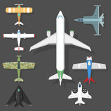 Vector airplane illustration top view and aircraft transportation travel way design journey object. Stock Images