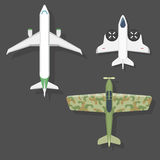Vector airplane illustration top view and aircraft transportation travel way design journey object. Stock Photography