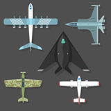 Vector airplane illustration top view and aircraft transportation travel way design journey object. Royalty Free Stock Photos