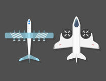 Vector airplane illustration top view and aircraft transportation travel way design journey object. Stock Photo