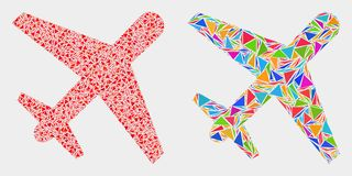 Vector Airplane Mosaic Icon of Triangle Items. Airplane mosaic icon of triangle items which have different sizes and shapes and colors. Geometric abstract vector stock illustration
