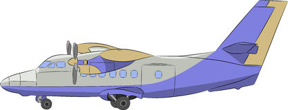Vector. Airplane with propellers. Royalty Free Stock Images