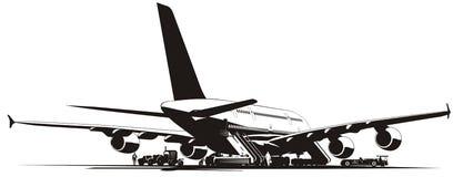 Vector airplane at runway Stock Photos