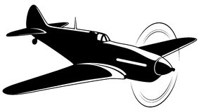 Vector airplane. Vector silhouette of the old fighter plane Royalty Free Stock Photography