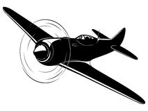 Vector airplane. Vector silhouette of the old fighter plane Royalty Free Stock Images