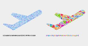 Vector Airplane Takeoff Mosaic Icon of Triangles. Airplane takeoff mosaic icon of triangle items which have different sizes and shapes and colors. Geometric vector illustration