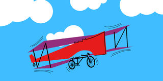 Vector airplane-tandem flies in the sky Royalty Free Stock Photos