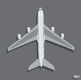 Vector airplane top view. Royalty Free Stock Photos
